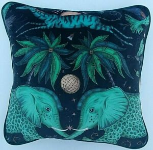Emma J Shipley ZAMBEZI TEAL VELVET cushion cover 41cm x 41cm