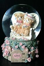 "Valentine's Day Teddy Bears Collection Musical Snow globe ""Love Side By Side"""