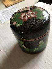 Vintage cloisonné round trinket box w/ flowers design