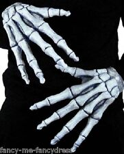 Ladies Mens Black Skeleton Bones Halloween Fancy Dress Costume Outfit Gloves