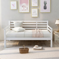 Full Size Daybed Sofa Bed Full Platform Bed Wood Bed Frame Guest Bed White/Gray