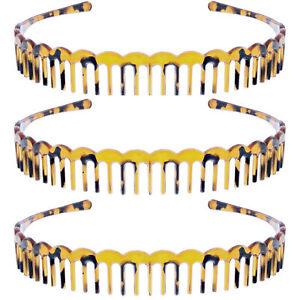 Set of 3 Strong Tortoiseshell Plastic Teeth Comb Hair Alicebands/ Headbands
