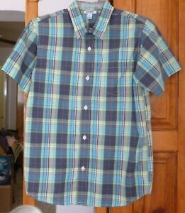 Old Navy Plaid SHIRT Button-Up Collared, Teal Aqua Green Short /S Youth size XL