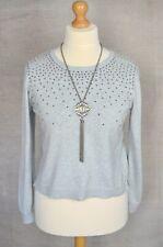 OASIS Grey studded cropped length fine knit jumper LARGE