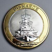 GERMAN BATTLESHIP BISMARCK Dual Metal Silver & 24ct Gold Commemorative. WW2 Navy