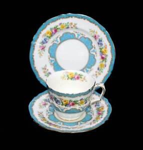 Vintage Crown Staffordshire exquisite turquoise & floral teacup trio set
