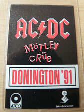 AC/DC & MOTLEY CRUE Laminated Backstage Pass - DONINGTON 1991 STAGE CREW