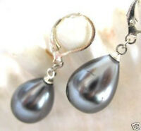 June Pearl Black Grey Mother of Pearl AAA Gray drop 14mm big shell pearl earring