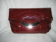 NY&C by New York & Company Red Moc Crock Faux Leather Clutch/Handbag NWOT