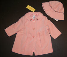 NWT Gymboree Holiday Friends 12-18 Months Peach Rose Velveteen Hat & Coat