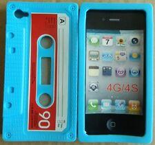 Coque housse étui cassette K7 rétro iPhone 4 4S Bleue
