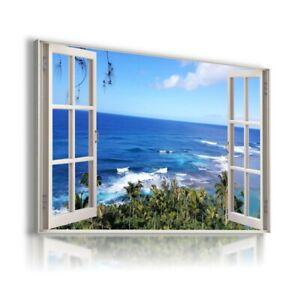 PARADISE BEACH BLUE WATER HAWAII 3D Window View Canvas Wall Art Print WN25