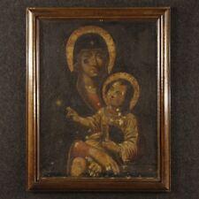 Dipinto religioso olio su tela quadro arte sacra Madonna con Bambino 700 XVIII