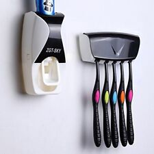 Dust-proof Automatic Toothpaste Dispenser Toothbrush Holder Squeezer Wall Mount