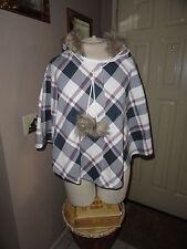 Multi-Color Pullover Plaid Cotton Poncho w/Faux trim hoodie & adjust Tie.  Large