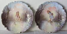 Coppia antichi piatti  - Limoges - Bambini sul fiume