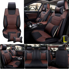 Comfortable Microfiber PU Leather 5 Sits Cars Seat Cover Front+Rear with Pillows