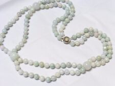 Chinese Green Jade Beaded Necklace,  Sterling Clasp, 119 grams