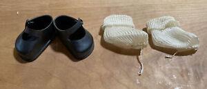 Vintage Black Ideal Toy Corp Vinyl Doll Shoes & White Socks