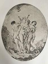 Gravure François Boucher Les trois Grâces Héliogravure Dujardin 1856