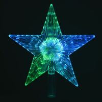 Colour Changing LED Light Up Star Christmas Tree Topper Xmas Decoration 22x24cm