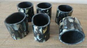SET OF 6 MOTHER OF PEARL STYLE BLACK NAPKIN RINGS HOLDERS / UK SELLER