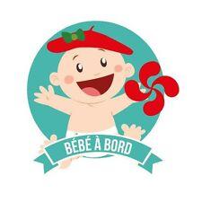 Autocollant Bébé à bord fille baby girl Basque stickers adhésif logo 3 17 cm