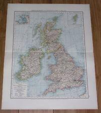 1896 ORIGINAL ANTIQUE MAP OF GREAT BRITAIN ENGLAND SCOTLAND IRELAND UK