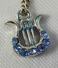 """Lyre Harp Silver w/Blue and Clear Rhinestone Necklace March birthstone 24"""""""