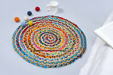 2 ft Round Colorful Natural Jute Chindi Sisal Woven Area Braided Rug Boho Indian
