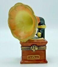 Vintage Limoges Phonograph Record Player Porcelain Trinket Box Peint Main France