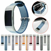 Woven Fabric Wrist Strap Watch Band w/Stainless Buckle For Fitbit Charge 2 MS