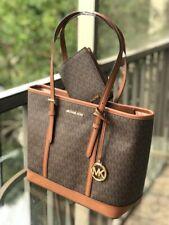 Michael Kors Small Leather Shoulder Tote Purse Handbag Brown Bag+Passport Wallet