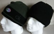 CALVIN KLEIN~ BEANIE HAT ~ REVERSIBLE ~ AUTHENTIC ~ OLIVE / BLACK ~ SO WARM