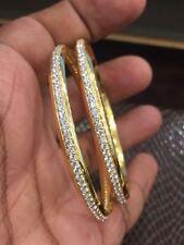 Pave 6.50 Cts Round Brilliant Cut Natural Diamonds Bangles In Hallmark 14K Gold