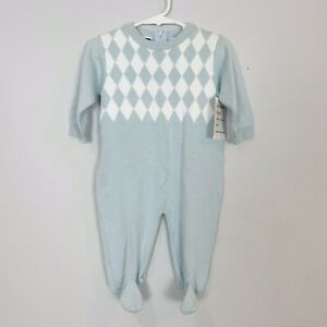 New CARRIAGE BOUTIQUES Boys 6 Mo Blue Argyle Sweater FOOTY 1 Piece