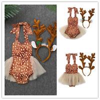 Infant Baby Girls Xmas Romper Elk Jumpsuits Dress + Hair Hoop Set Fancy Dress Up