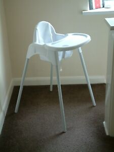 White High Chair with Removable Tray -  Easily Dismantled for Storage