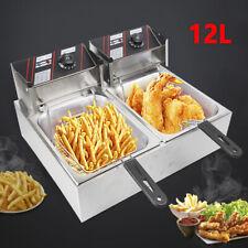 12L Edelstahl Doppel Friteuse Fritteuse Fritöse Elektro Kaltzonen+2 Frittierkorb