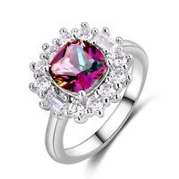 Vintage 925 Silver Ruby Topaz Gemstone Wedding Engagement Ring Wholesale 6-10
