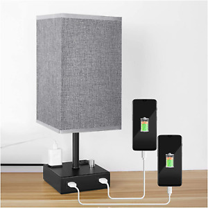 USB Bedside Table Lamp, PENDEI Table Lamp with Dual USB Charging Ports 2 Power O