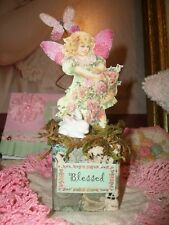 OOAK Altered Art Mixed Media Fairy Decoration Easter Bunny Butterfly Roses