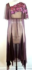 NATAYA BurgundY/VIOLET Sheer silk Victorian Formal Victorian Dress M