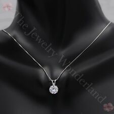 2.5 CT Round Brilliant Cut Real 14k Solid White Gold Pendant Chain Necklace 16""