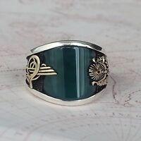 Turkish Ottoman Green Agate Gemstone 925 Sterling Silver Mens Ring Gemstone
