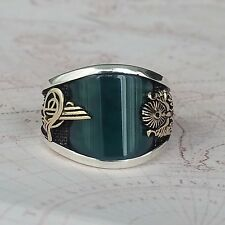 HandMade 925 Sterling Silver Mens Ring Green Agate Gemstone Turkish Ottoman