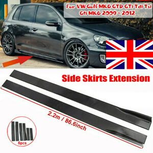 """86.6"""" Gloss Side Skirts Rocker Panels Splitter For VW Golf MK5 MK6 MK7 GTD GTI R"""
