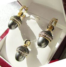 SALE ! SUPERB EGG PENDANT & EARRINGS SET SILVER 925and 24K GOLD with BLACK PEARL