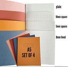 Libros de ejercicio 4 X Rhino 80 página A5 Home School Set gráficos 8mm Forrado, Plain