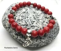 Red Coral Natural Gemstone Bead 8 mm Bracelet Healing Base Chakra Elasticated OM